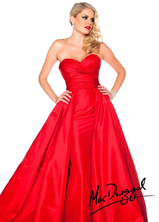 Mac Duggal 61563R - Red Strapless Ball Gown Prom Dresses Online #thepromdresses