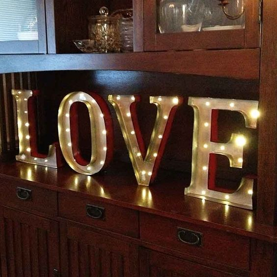 Marquee led light metal love sign industrial letters for Metal marquee letters hobby lobby