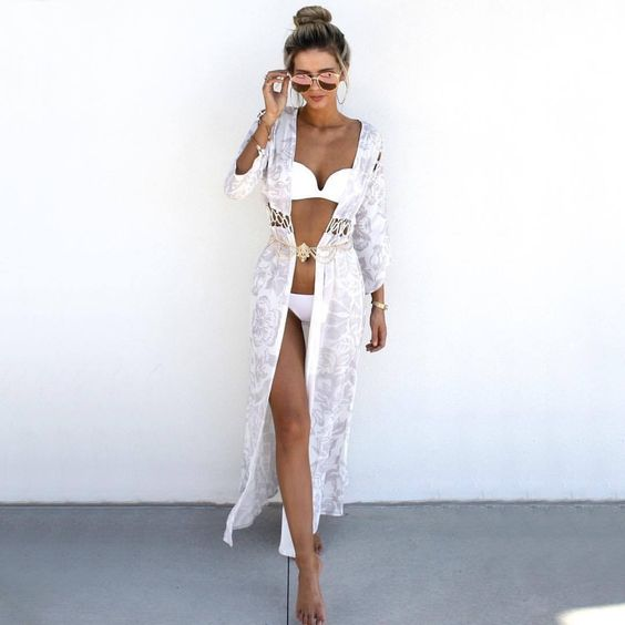 Beach style summer bathing suit cover-up outfit