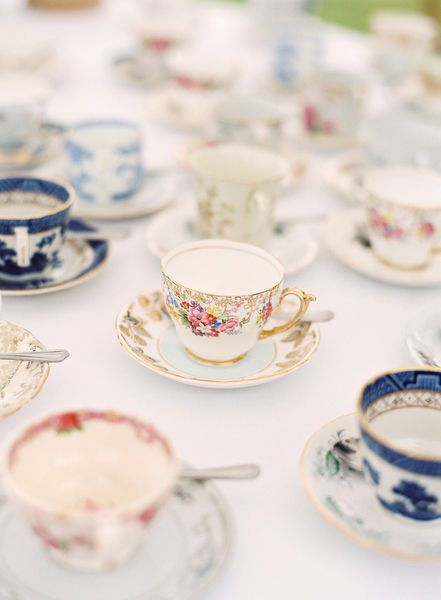 Cups and saucers of various patterns. #tea #cups