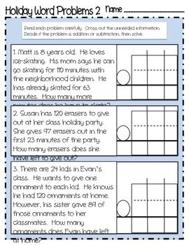 Holiday Addition and Subtraction Word Problems with Regrouping ...