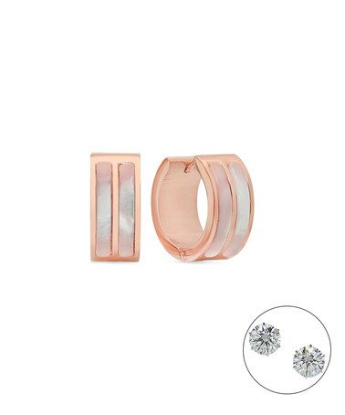 Mother-of-Pearl & Rose Gold Huggie Earrings #zulily #zulilyfinds