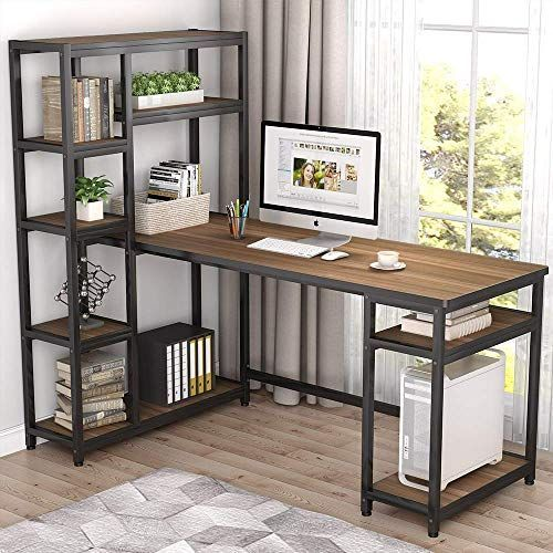 New Tribesigns 67 Reversible Large Computer Desk 9 Storage Shelves Office Desk Study Table In 2020 Large Computer Desk Cheap Office Furniture Modern Home Office Desk