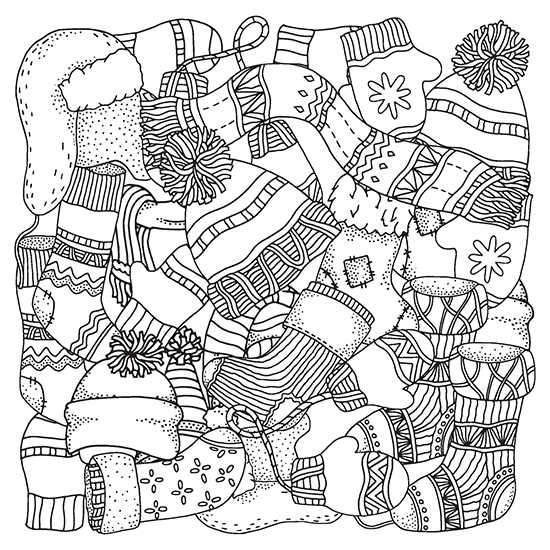 Winter Stockings Hats And Mittens Coloring Page Coloring Pages