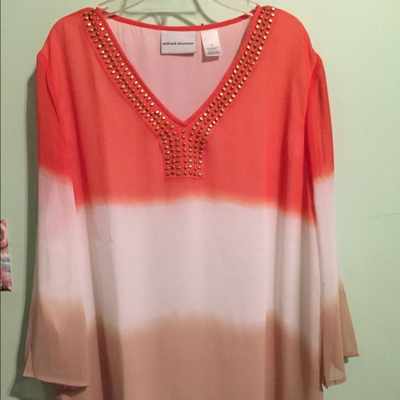 """ALFRED DUNNER OMBRE TOP NWOT! Alfred DUNNER Ombre top size 14. Colors are tan, white and orange. Top is NWOT but there is one flaw. On the left side of the metal beads, 1 square is coming loose. It just needs to be sewn tighter. Top is 100% polyester. Length is 27"""" and width is 22"""". Sleeves are 19"""". Alfred Dunner Tops Blouses"""