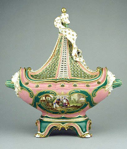 Sèvres porcelain potpourri boat, c. 1760, a form owned by Madame de Pompadour who was a great supporter of Sèvres: