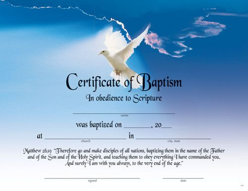 Printable fillable certificate of baptism printable for Free water baptism certificate template