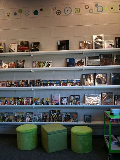 Solon Middle School Media Center - using rain gutters for front out book display.