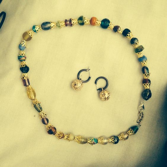 All Colored beads-n-gold necklace and earring set I made in 20 minutes.