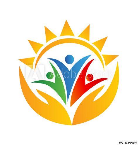 Teamwork Hands And Sun Logo Buy This Stock Vector And Explore Similar Vectors At Adobe Stock In 2021 Sun Logo Hand Logo Unity Logo