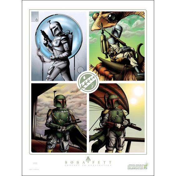 Boba Fett Concept to Realization The Boba Fett Concept to Realization print was a Star Wars Celebration VI Orlando exclusive, featuring artwork by Jeff Confer with a print run of just 250. According to Jeff's description on DeviantArt, this one of a...