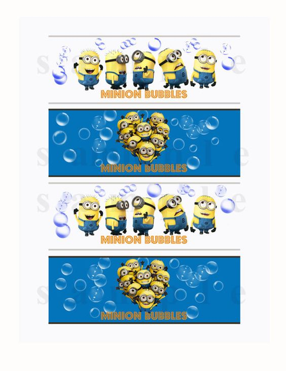 Despicable me bubble bottle labels printable minion for Bubble bottle label template
