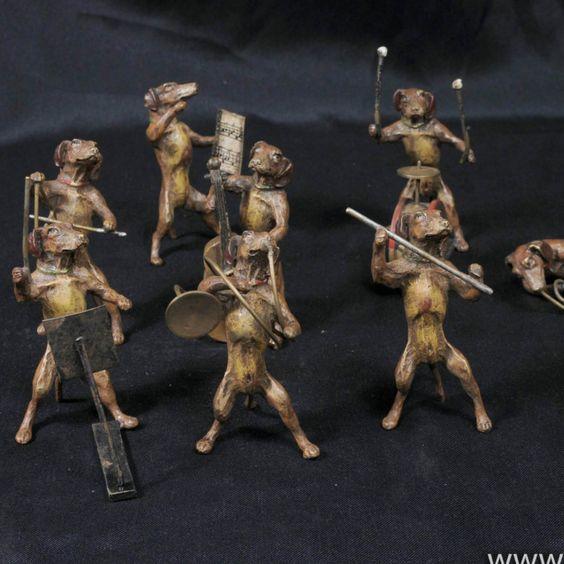 Vienna Cold Painted Bronze Dog Orchestra