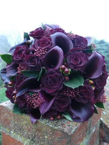 Bouquet of Black Bacarra Roses and eggplant Callas