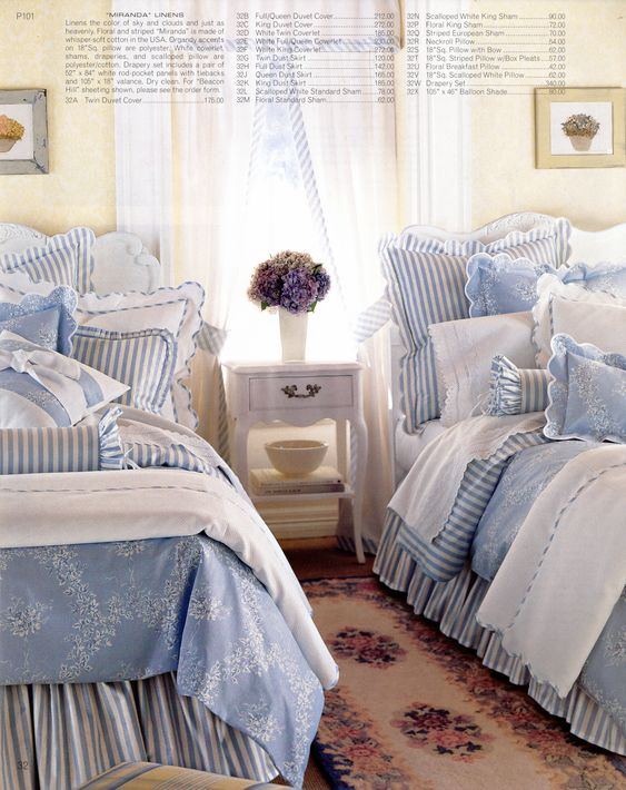 Pale white & blue cottage bedding. Such a fresh, crisp, relaxing looking bedroom.