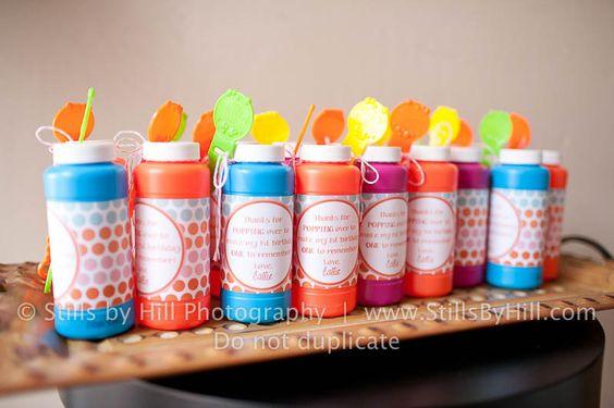 Colorful bubbles as party favors