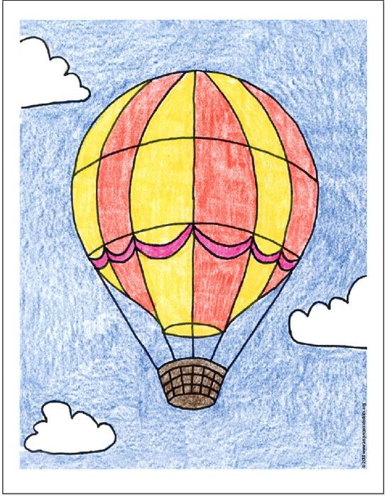 Draw A Hot Air Balloon Balloon Painting Easy Drawings Hot Air