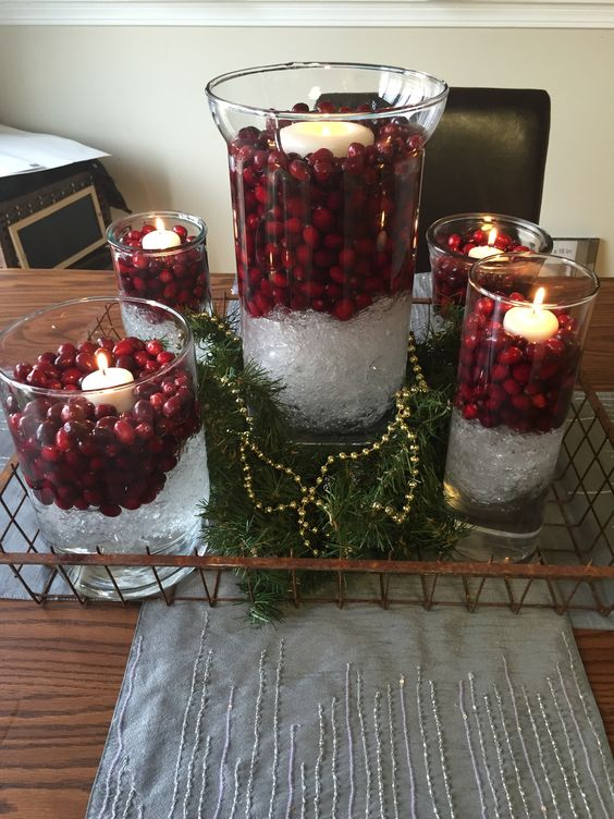 Christmas decor vase clear plastic wrap water and for Artificial cranberries decoration
