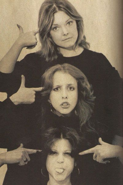 The original SNL women cast members: Jane Curtin, Lorraine Newman, and Gilda Radner.