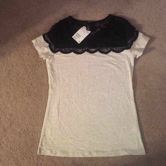 H&M tee Light grey/oatmeal short sleeve with black floral lace on top. Never worn before. NWT H&M Tops Tees - Short Sleeve