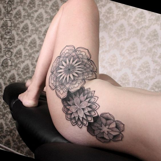 45 Beautiful Hip Tattoo Design Ideas For Women: Girl's Hip Decorated With Several Beautiful Mandala