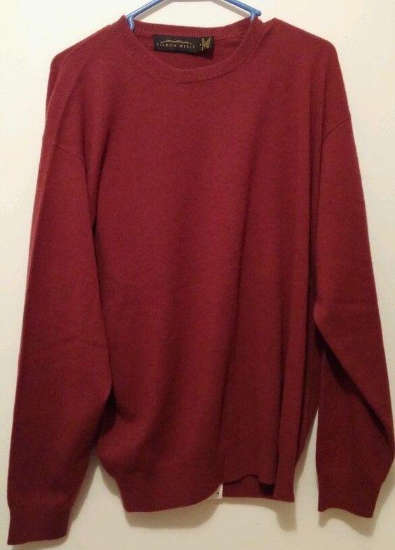 NWT 100% Cashmere Eildon Hills Rum Raisin Menswear Sweater Super Soft  #EildonHills #Crewneck