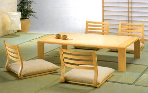 Zataku And Zaisu Table And Chairs In Japanese Style Dining