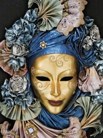 Golden Venetian Mask with Blue Satin Flowers, Pale Rose Lace, Soft Green Fabric Fans.