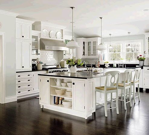 White cabinets with dark floors