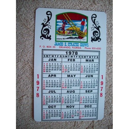 James E Strates Shows Carnival 1978 1979 Calendar Calendar