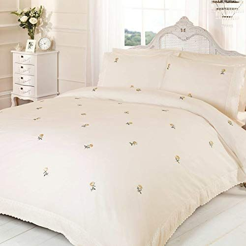 Rapport Alicia Floral Cream Yellow Uk Super King Unfilled Duvet Cover And Pillowcase Set Duvet Covers Cheap Single Bedding Sets Bed
