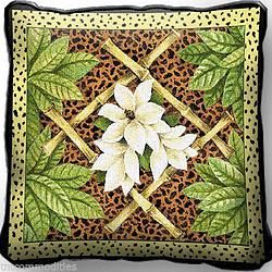 White Flowers & Leopard Spots Art Tapestry Pillow