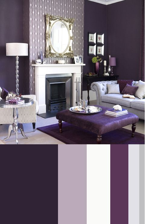 Recipe for color living rooms patterned wall fireplace wall and color palettes Purple living room color schemes