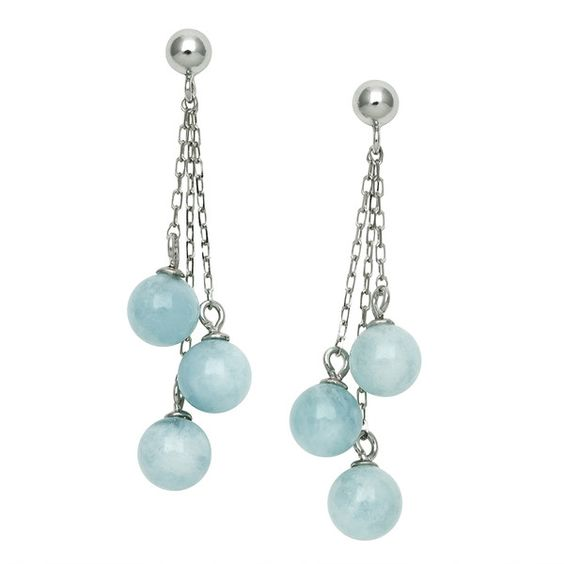 Aquamarine Dangle Earrings in Sterling Silver ($38) ❤ liked on Polyvore featuring jewelry, earrings, blue, round earrings, blue dangle earrings, long dangle earrings, blue earrings and sterling silver earrings