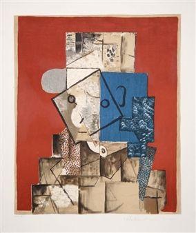 Visage sur Fond Rouge, 32-4 By Pablo Picasso ,1914