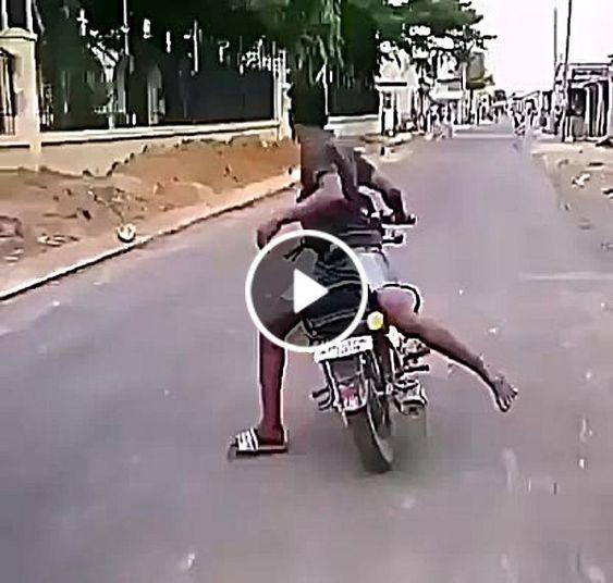 Tudo estava dando certo até que a moto se desviou do caminho
