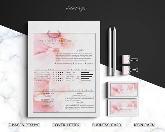 Resume Template \/Business Card Editable Resume-Cover Letter - business card resume