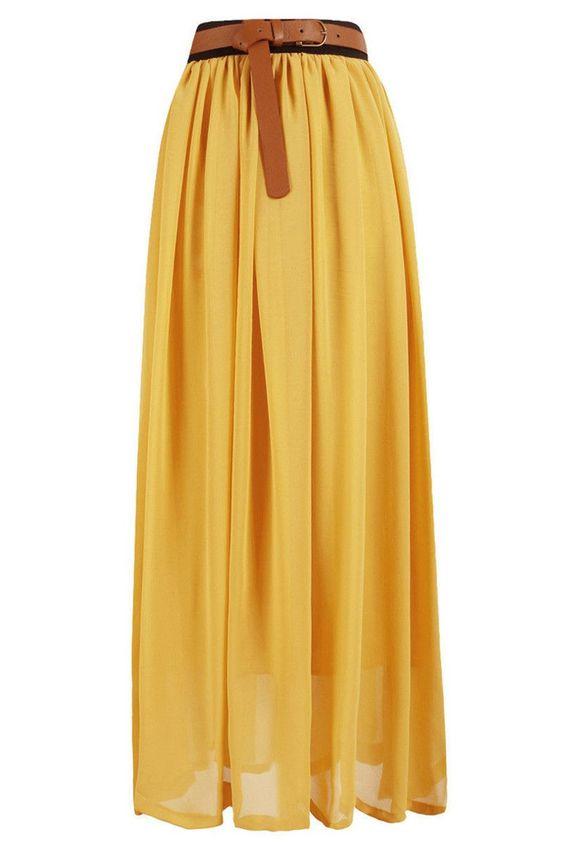 chiffon maxi skirt in yellow maxi skirts