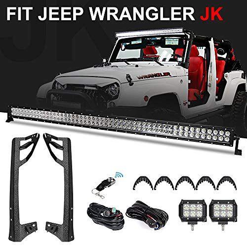 J-eep Wrangler JK Windshield Mounting Brackets for 52 Inch LED Light bar