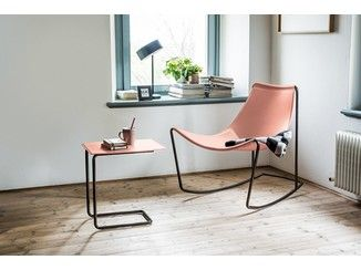 Rocking tanned leather chair APELLE | Rocking chair - Midj