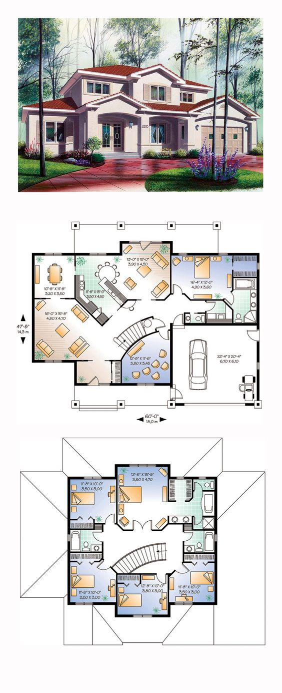 Luxury House Plan 64984 | Total Living Area: 3016 sq. ft., 6 bedrooms and 4.5 bathrooms. #luxuryhome