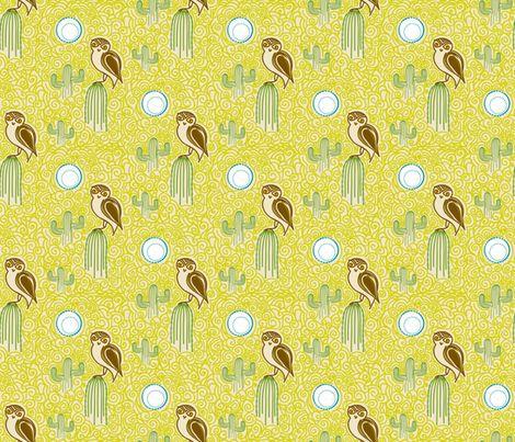 Desert Owl - © Lucinda Wei fabric by simboko on Spoonflower