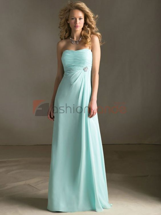 Strapless Chiffon Dress With Beaded Brooch - Discount Prom Dresses for Sale | Shop Online at Wedding Shop Fashionlande Australia - $77.99