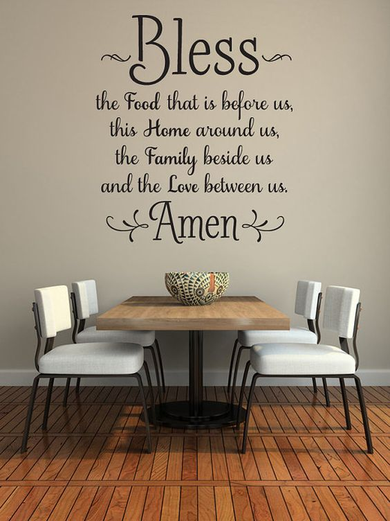 Bless the food before us wall decal kitchen wall art for Dining room quote decals