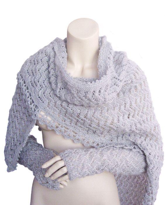 Hand knitted shawl, Grey shawl, Women shawl, Grey gloves, accessories shawl by fone on Etsy https://www.etsy.com/listing/110836163/hand-knitted-shawl-grey-shawl-women