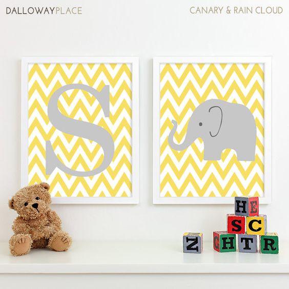 Chevron Elephant Nursery Decor, Kids Wall Art, Safari Nursery Art ...