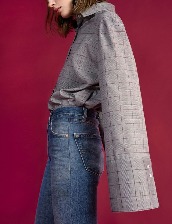 Grey Check Wide Sleeve Cuff Shirt