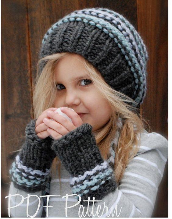 Knitting PATTERN-The Jersey Cap/Mitt Set (Toddler, Child, Adult sizes) Knit...
