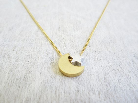 Simple Star and Moon Necklace on 24k Gold Plated Cahin by Muse411, $24.00