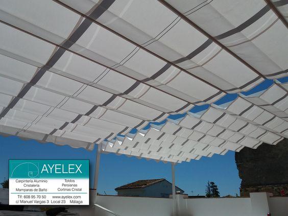 Instalaci n de 2 toldos paliller a vista en tejido for Herrajes de aluminio para toldos